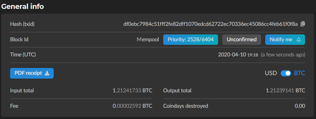 Bitcoin halving - example of mempool transaction